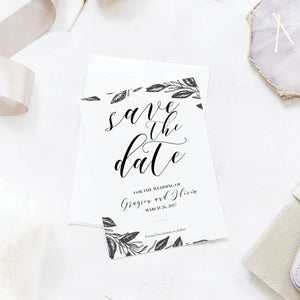 Black and White Floral Wedding Save the Dates