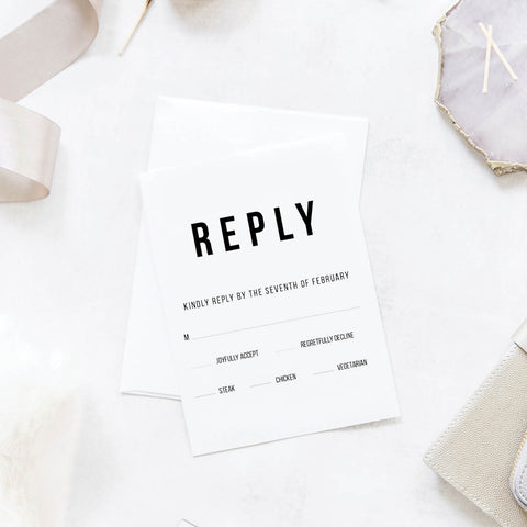 Bold Caps Wedding Reply / RSVP Cards