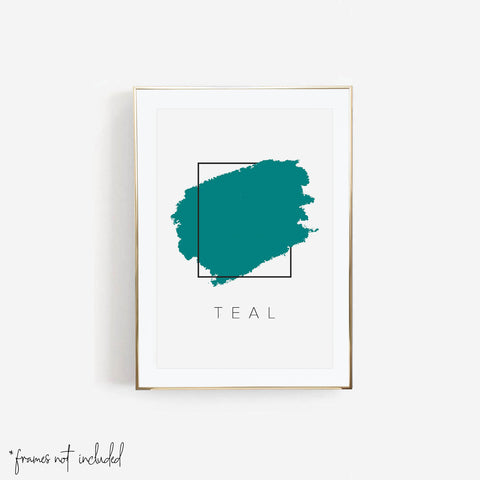 Teal Color Box Print