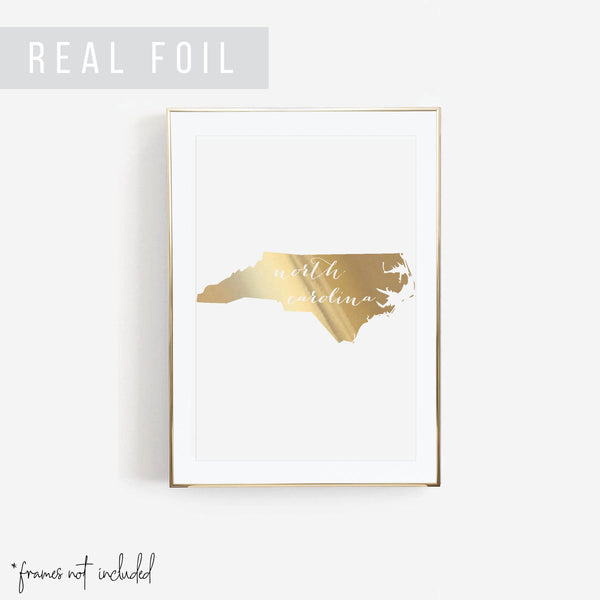 North Carolina State Foiled Art Print