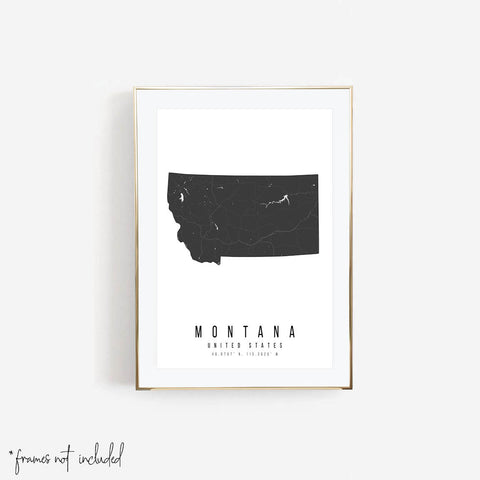 Montana Mono Black and White Modern Minimal Street Map Print