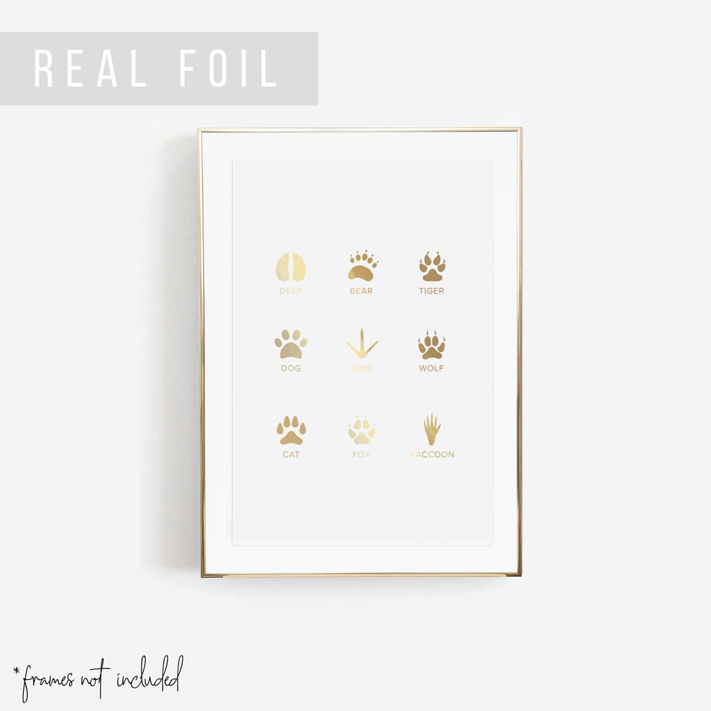 Animal Tracks Foiled Art Print - Typologie Paper Co