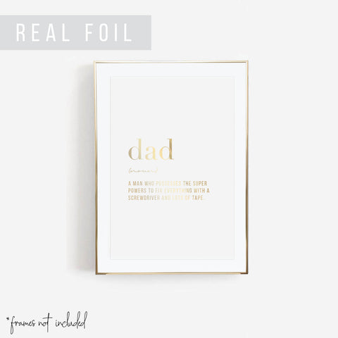 Dad Definition Foiled Art Print