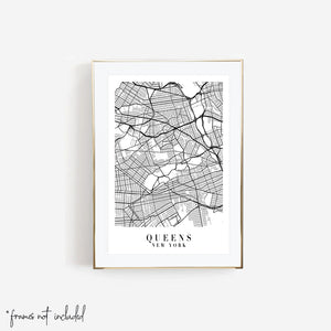 Queens New York Street Map Minimal Print