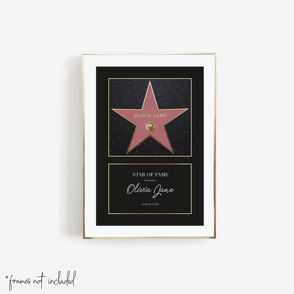 Personalized Walk of Fame Star with Border Print