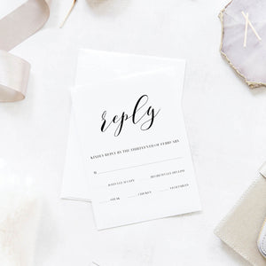 Black and White Floral Wedding Reply / RSVP Cards