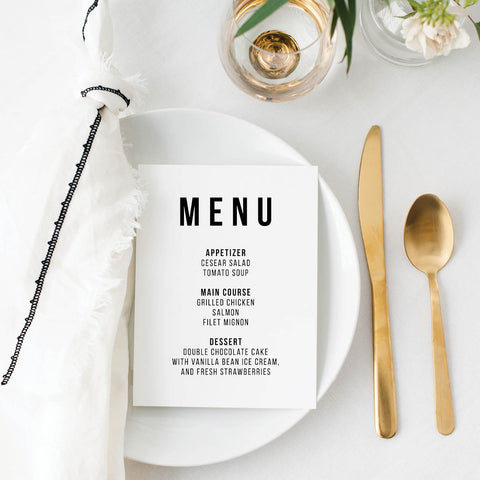 Bold Caps Wedding Menu Cards