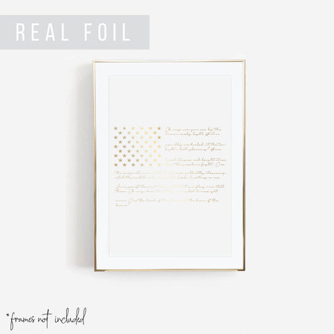 American Flag with the National Anthem Script Foiled Art Print - Typologie Paper Co