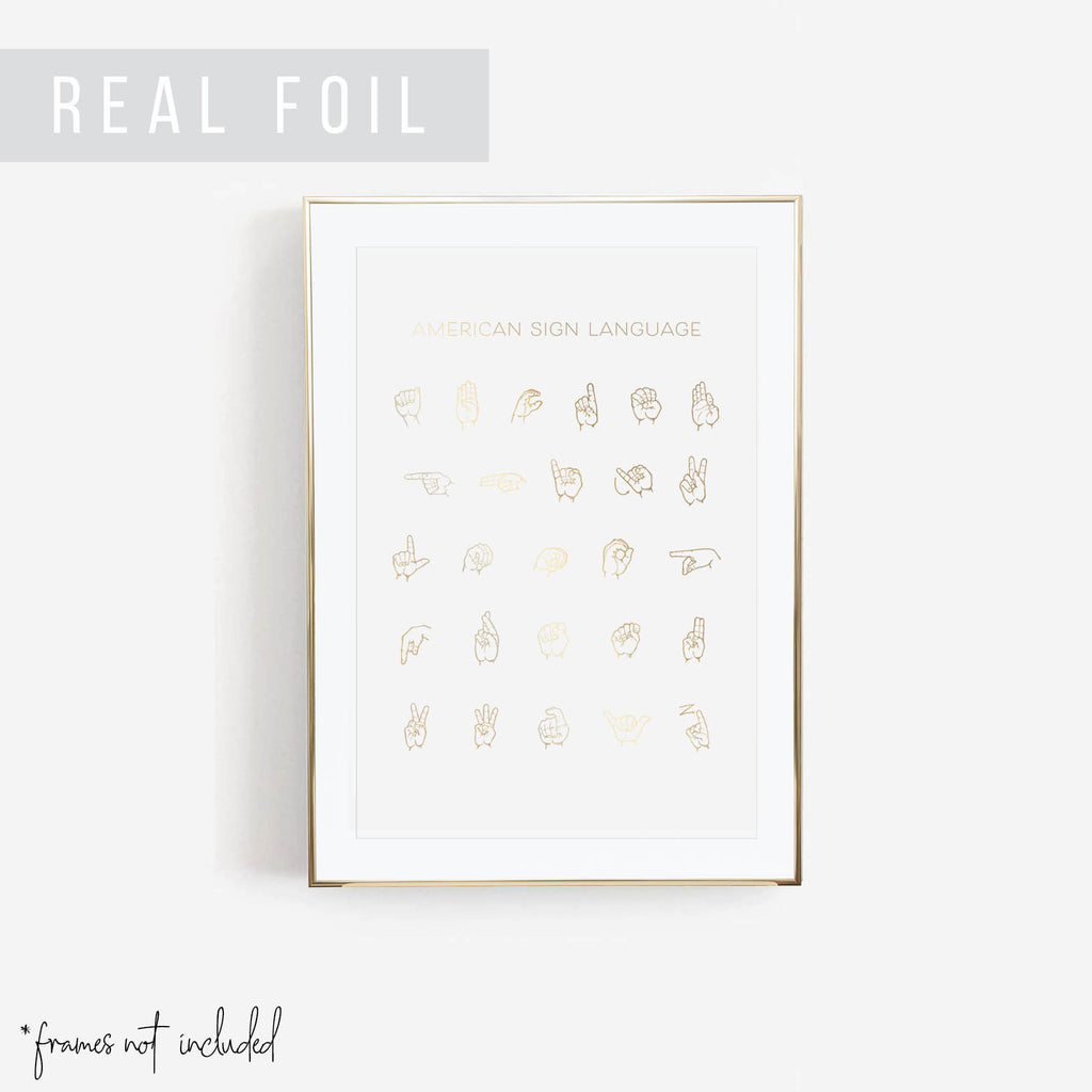 American Sign Language Chart Foiled Art Print - Typologie Paper Co