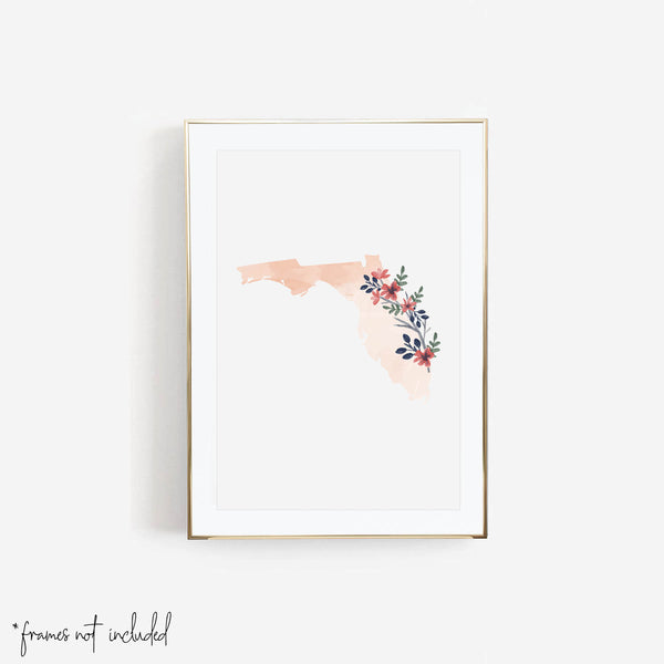 Watercolor Floral Florida Print