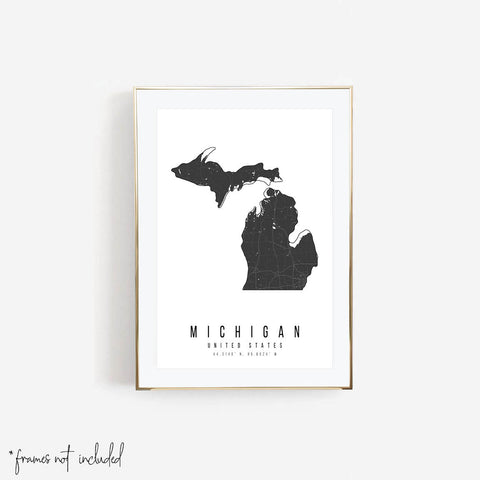 Michigan Mono Black and White Modern Minimal Street Map Print