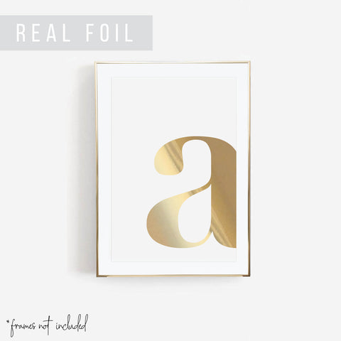 Lowercase Side Initial Foiled Art Print