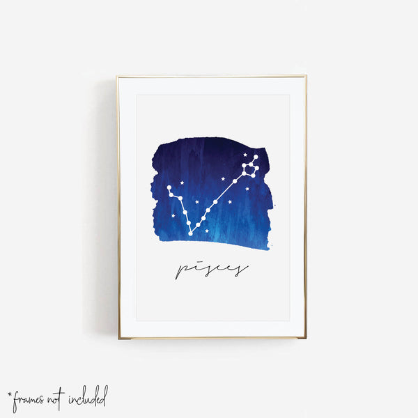 Pisces Zodiac Watercolor Print