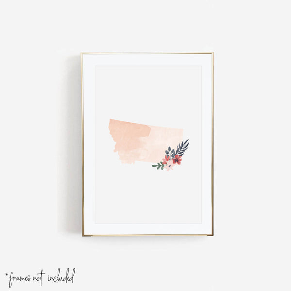 Watercolor Floral Montana Print