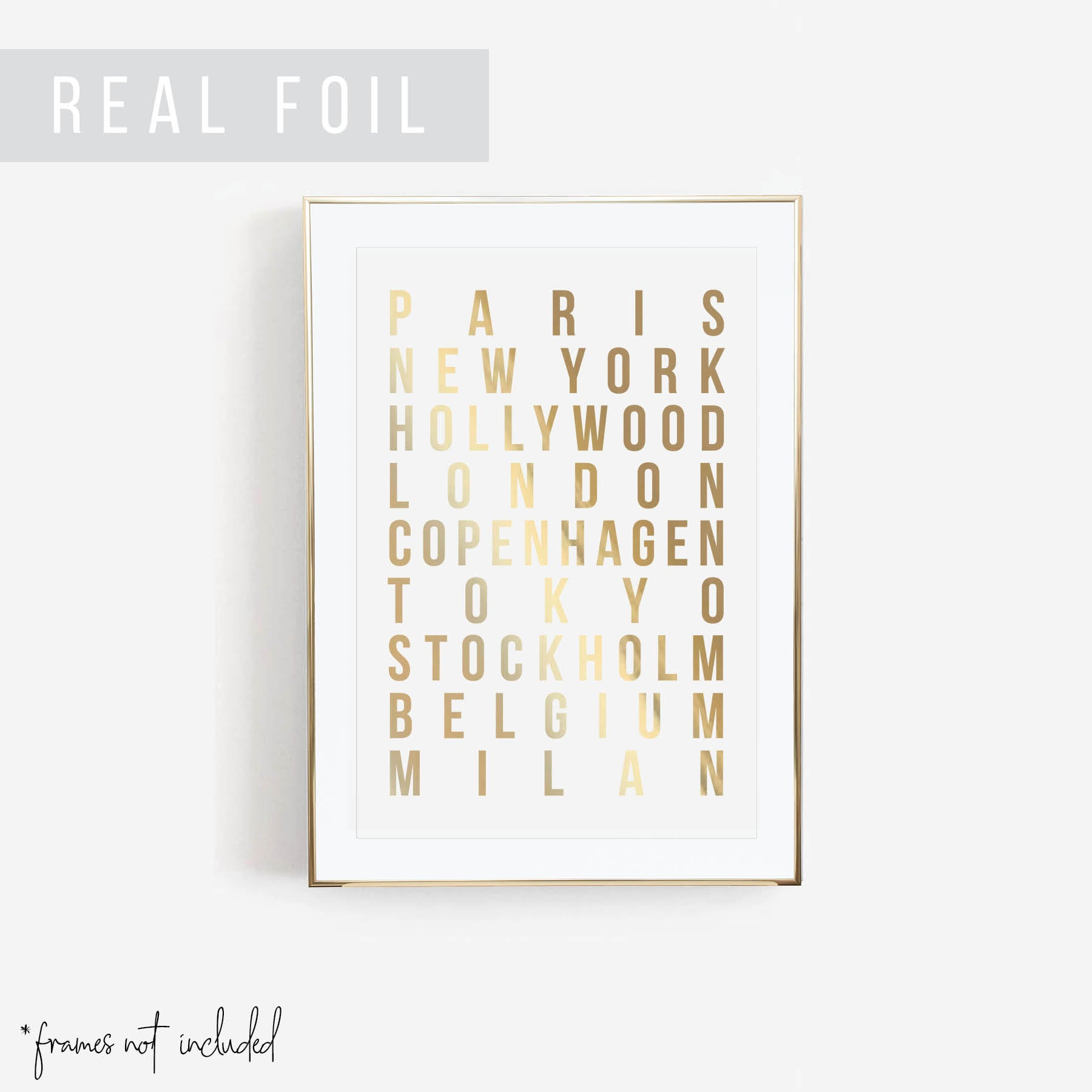 Paris New York Hollywood London Copenhagen Tokyo Stockholm Belgium Milan Foiled Art Print