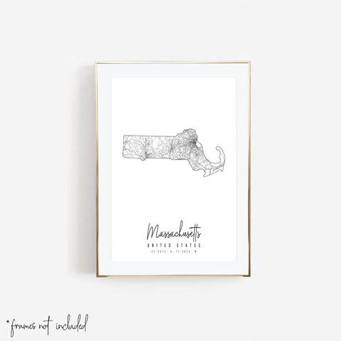Massachusetts Minimal Street Map Print