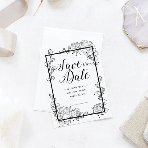 Floral Sketch Wedding Save the Dates