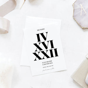 Bold and Modern Roman Numeral Save the Dates