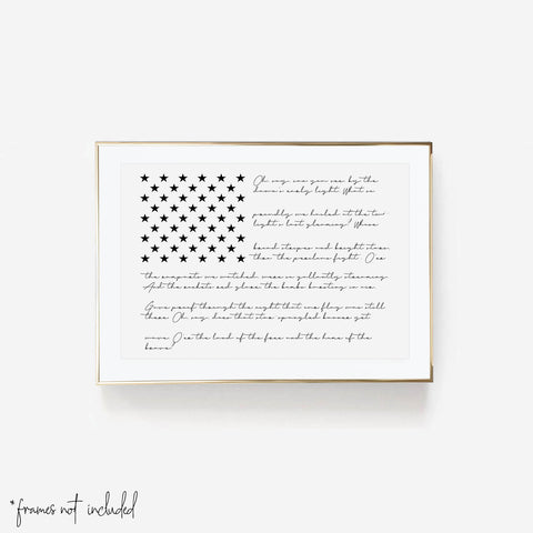American Flag with the National Anthem Script Print - Typologie Paper Co