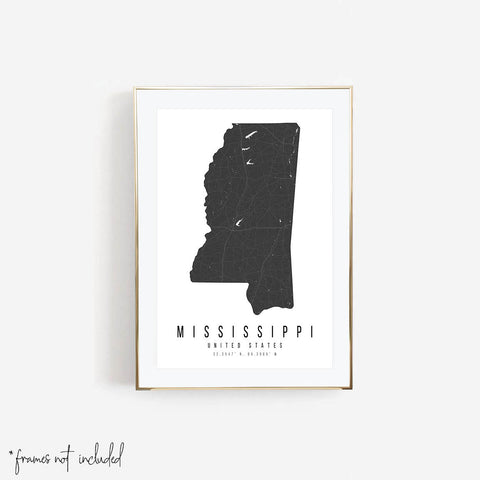 Mississippi Mono Black and White Modern Minimal Street Map Print