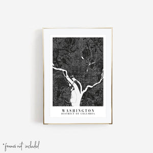 Washington DC Minimal Black Mono Street Map Print