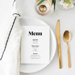 Bold and Modern Wedding Menu Cards