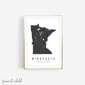 Minnesota Mono Black and White Modern Minimal Street Map Print