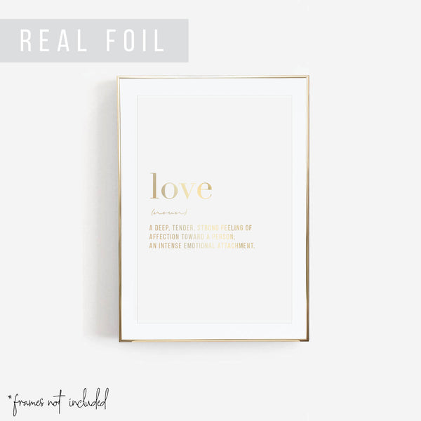 Love Definition Foiled Art Print