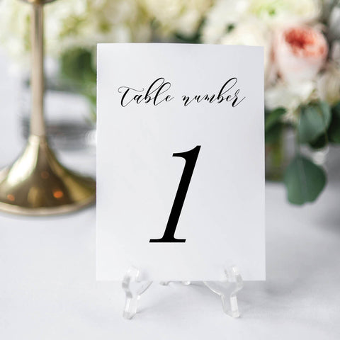 Minimal Script Wedding Table Number Cards