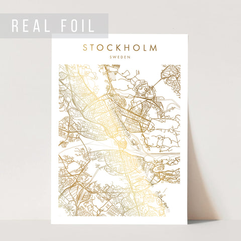 Stockholm Sweden Minimal Modern Street Map Foiled Art Print