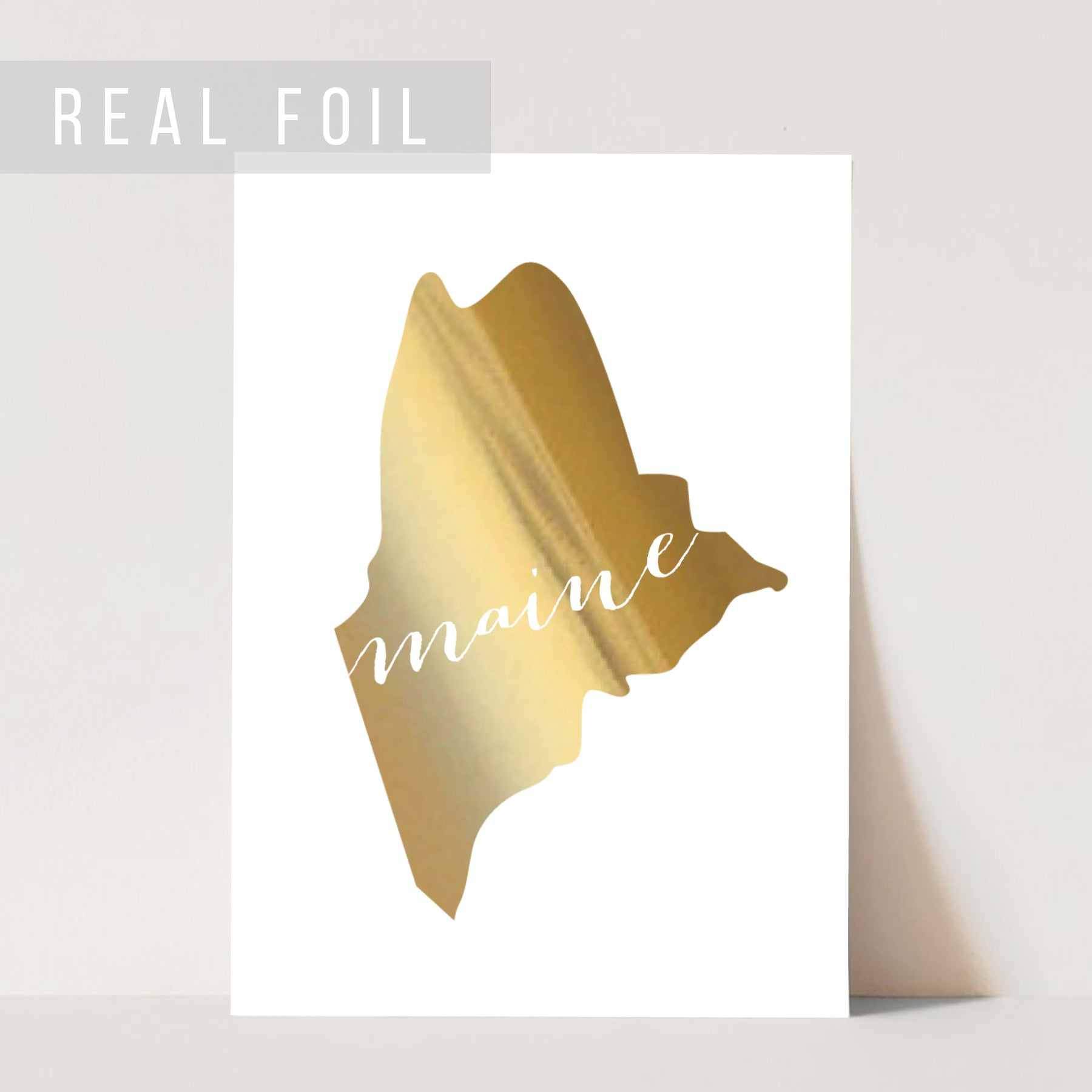 Maine State Foiled Art Print