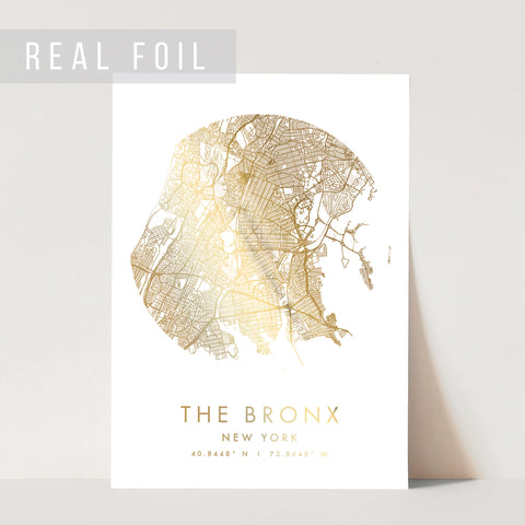 The Bronx New York Minimal Modern Circle Street Map Foiled Art Print