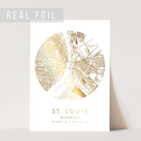 St Louis Missouri Minimal Modern Circle Street Map Foiled Art Print
