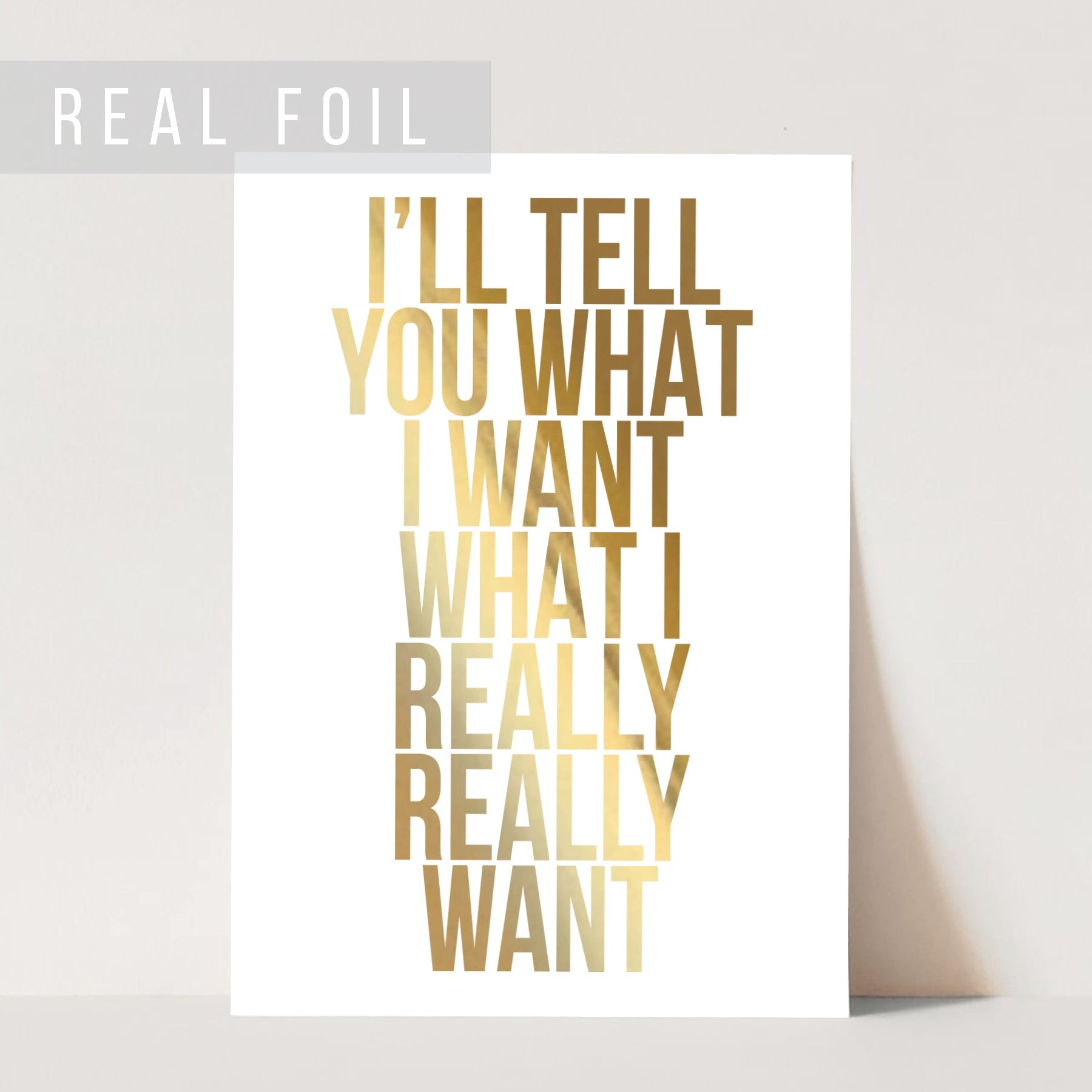 I'll Tell You What I Want What I Really Really Want Foiled Art Print