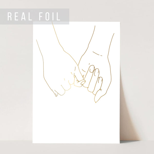 Pinky Promise I Love You Forever Line Art Minimal Foiled Art Print