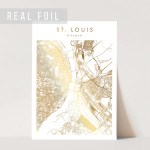 St Louis Missouri Minimal Modern Street Map Foiled Art Print