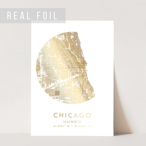 Chicago Illinois Minimal Modern Circle Street Map Foiled Art Print