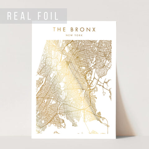 The Bronx New York Minimal Modern Street Map Foiled Art Print