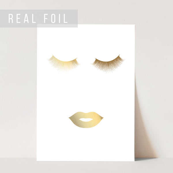 Eyes and Lips Black and White Foiled Art Print