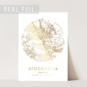 Stockholm Sweden Minimal Modern Circle Street Map Foiled Art Print