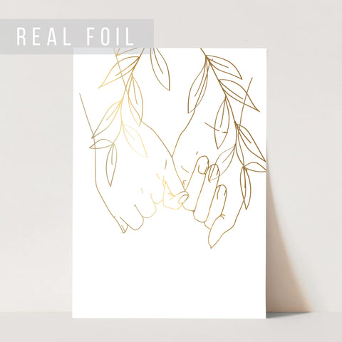 Pinky Promise Line Art with Leaves Foiled Art Print
