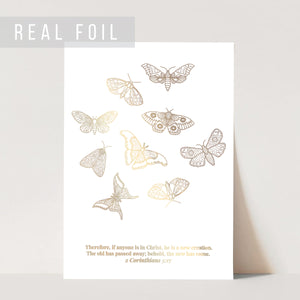 2 Corinthians 5:17 He Is A New Creation Butterfly Line Art Sketch Foiled Art Print