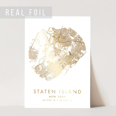 Staten Island New York Minimal Modern Circle Street Map Foiled Art Print
