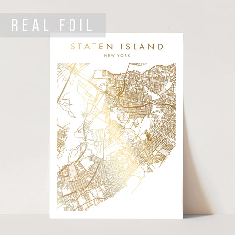 Staten Island New York Minimal Modern Street Map Foiled Art Print