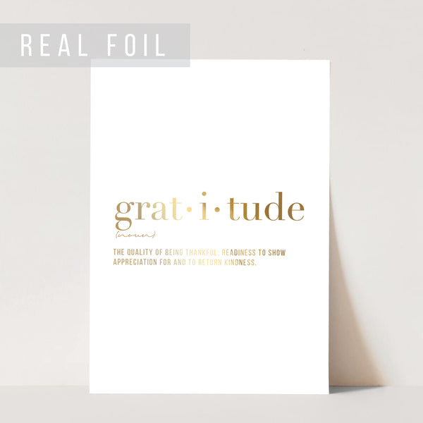 Gratitude Definition Foiled Art Print