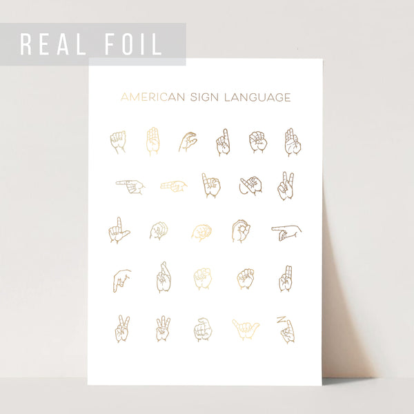 American Sign Language Chart Foiled Art Print