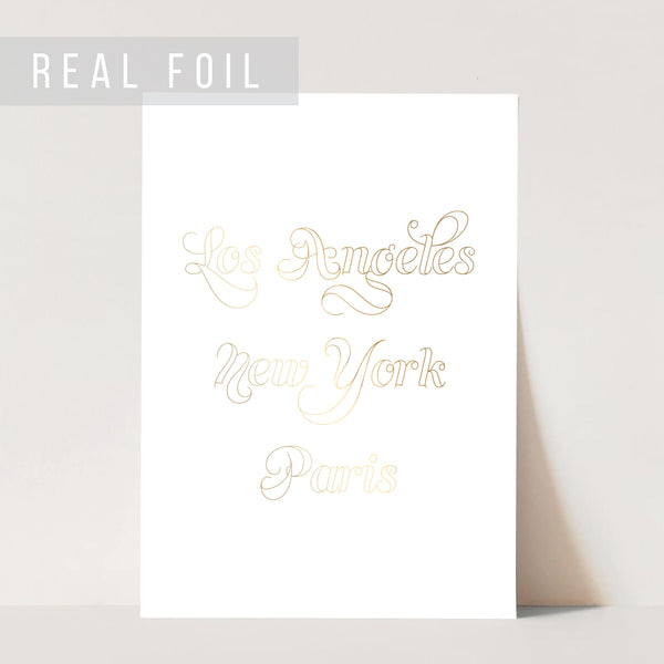 Los Angeles New York Paris Outline Foiled Art Print