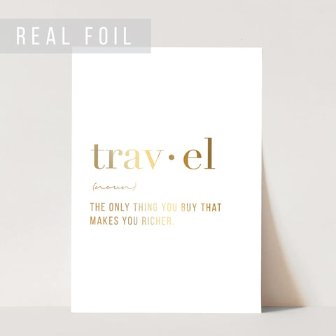 Travel Definition Foiled Art Print
