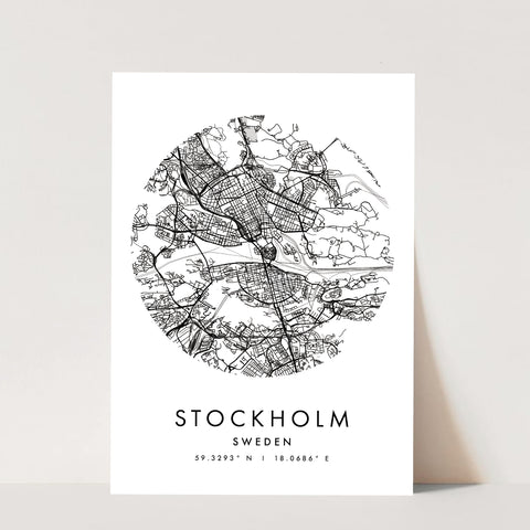 Stockholm Sweden Minimal Modern Circle Street Map Print