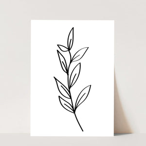 Leaf Line Art Black and White Print